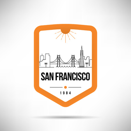 San Francisco City Modern Skyline Vector Template  イラスト・ベクター素材