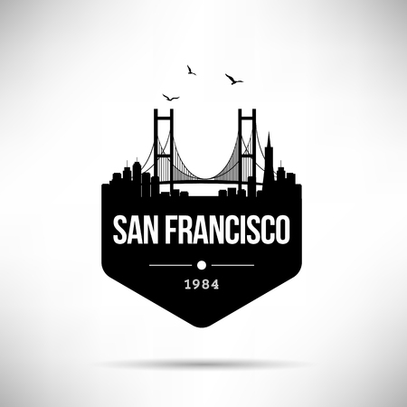 San Francisco City Modern Skyline Vector Template Иллюстрация