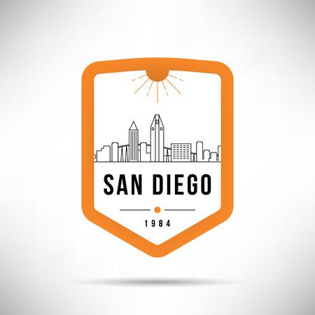San Diego City Modern Skyline Vector Template