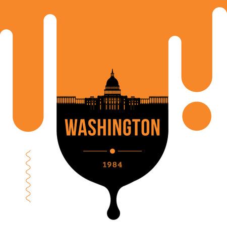 Washington Modern Web Banner Design with Vector Skyline
