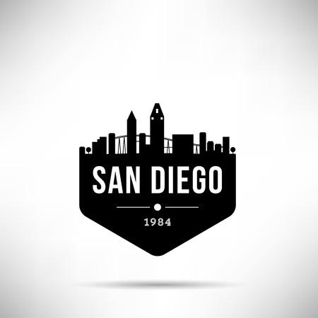 San Diego City Modern Skyline Vector Template Ilustração