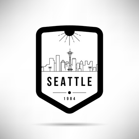 Seattle City Modern Skyline Vector Template