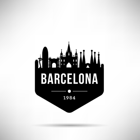 Barcelona City Modern Skyline Vector Template