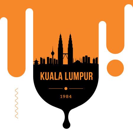 Kuala Lumpur Modern Web Banner Design with Vector Linear Skyline