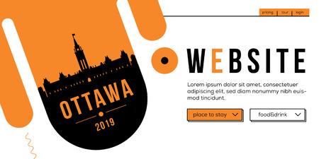 Ottawa Modern Web Banner Design with Vector Linear Skyline Illustration