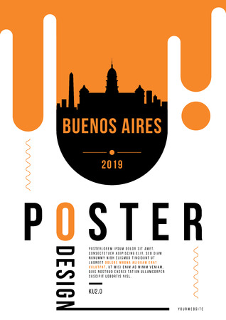 Buenos Aires Modern Poster Design with Vector Linear Skyline Illustration