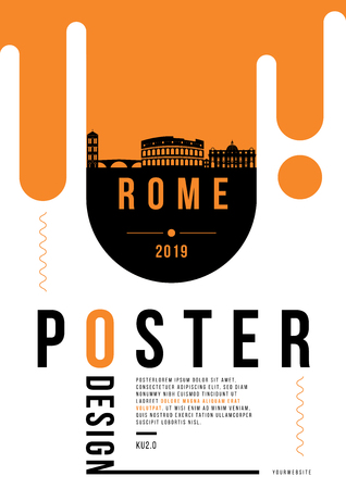 Rome Modern Poster Design with Vector Linear Skyline Illustration