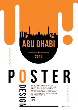 Abu Dhabi Modern Poster Design with Vector Linear Skyline
