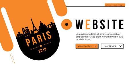 Paris Modern Web Banner Design with Vector Linear Skyline Illustration