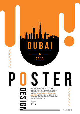 Dubai Modern Poster Design with Vector Linear Skyline 矢量图像