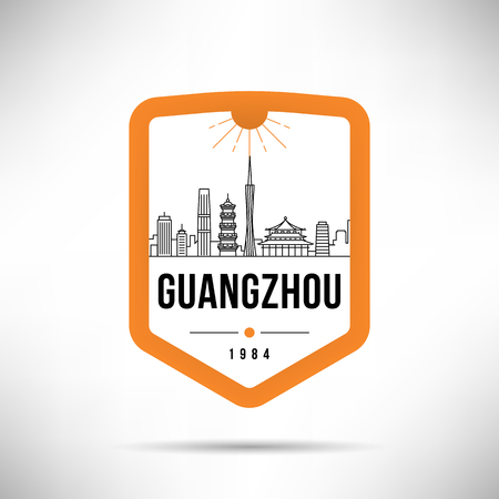 Guangzhou City Modern Skyline Vector Template