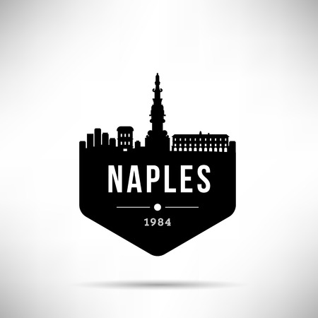 Naples Modern Skyline Vector Template Ilustração