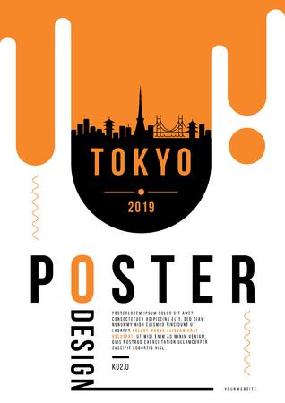 Tokyo Modern Poster Design with Vector Linear Skyline