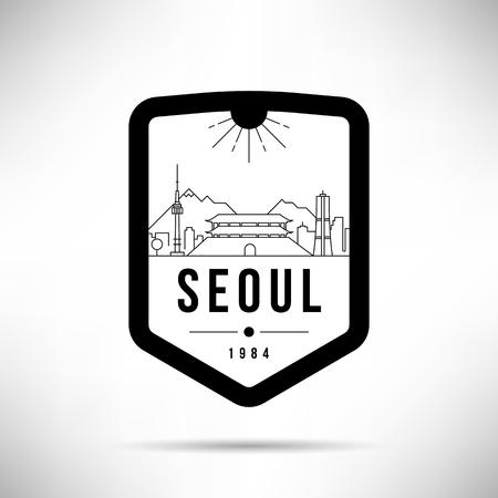 Seoul City Modern Skyline Vector Template