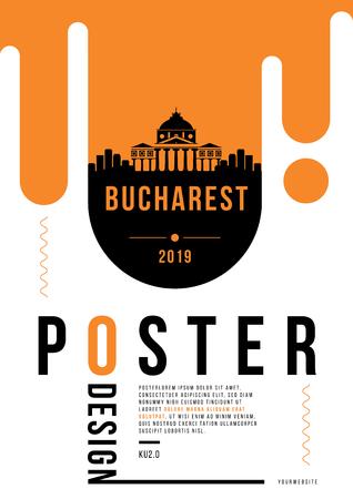 Bucharest Modern Poster Design with Vector Linear Skyline