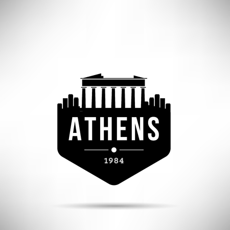 Athens City Modern Skyline Vector Template Ilustração Vetorial