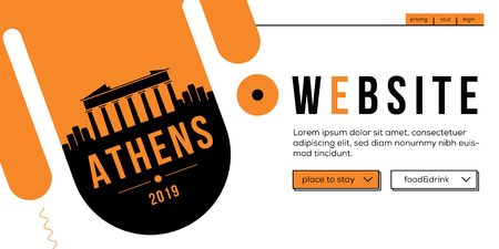 Athens Modern Web Banner Design with Vector Linear Skyline Illustration
