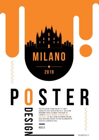 Milano Modern Poster Design with Vector Linear Skyline Illustration