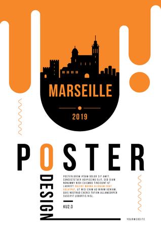 Marseille Modern Poster Design with Vector Linear Skyline