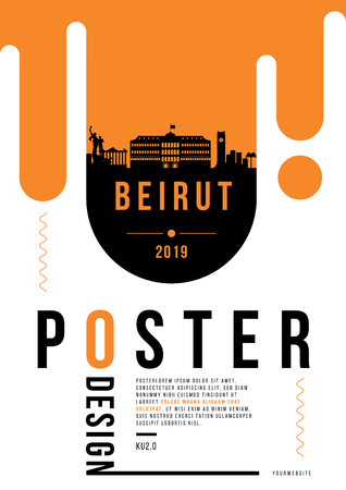 Beirut Modern Poster Design with Vector Linear Skyline
