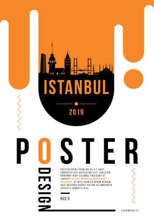 Istanbul Modern Poster Design with Vector Linear Skyline