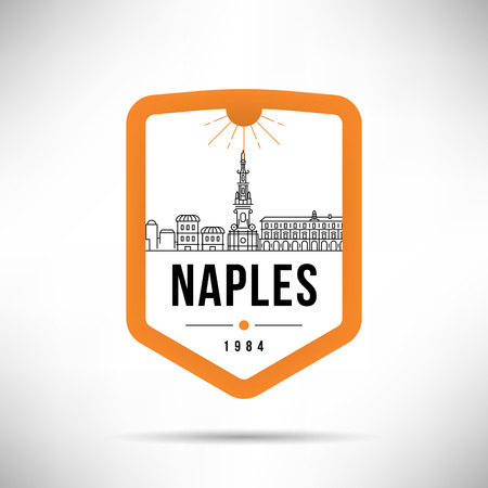 Naples Modern Skyline Vector Template Illustration