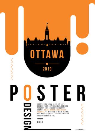 Ottawa Modern Poster Design with Vector Linear Skyline