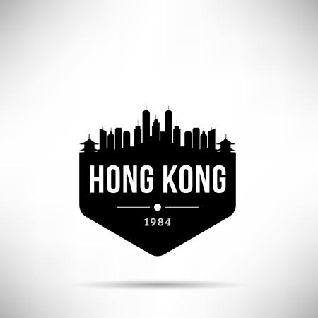 Hong Kong City Modern Skyline Vector Template