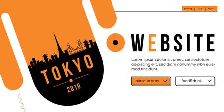 Tokyo Modern Web Banner Design with Vector Linear Skyline