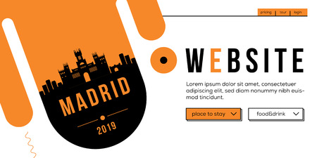 Madrid Modern Web Banner Design with Vector Linear Skyline