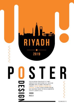 Riyadh Modern Poster Design with Vector Linear Skyline