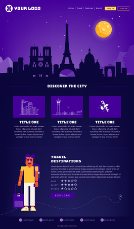 Paris City Webpage Design Template 向量圖像