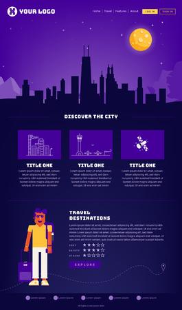 Chicago City Webpage Design Template Illusztráció