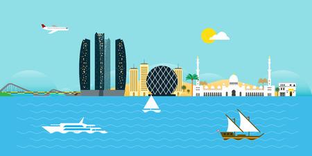 Abu Dhabi Skyline Flat Design Illusztráció