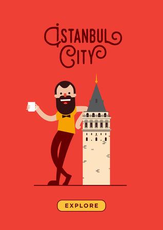 Galata Tower and Hipster Poster Design Illusztráció
