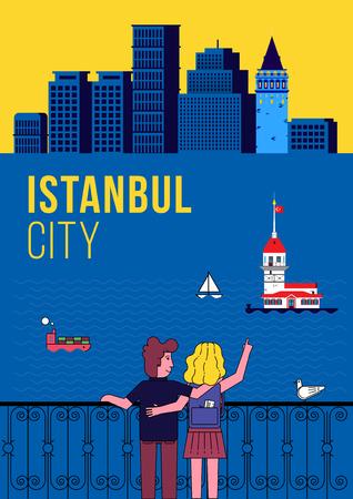 Lovers Wachting Istanbul Skyline Illusztráció