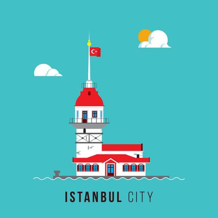 Maiden Tower, Istanbul Poster Design Illusztráció