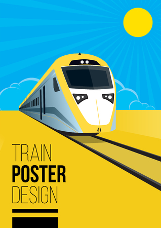 Flat Style Train Poster Design