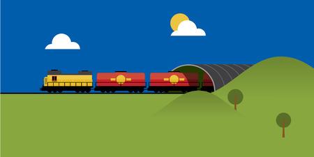 Flat Style Train Web Page Design
