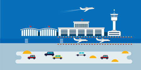 Flat Style Airport Wep Page Design