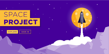 Space Rocket Launching Web Site Banner Design Illusztráció
