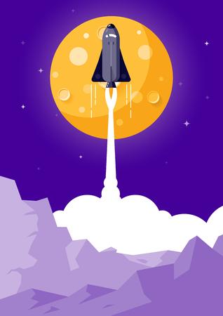 Space Rocket Launching Flat Design Style Illusztráció