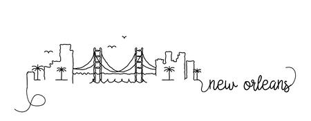 New Orleans City Skyline Doodle Sign Illustration