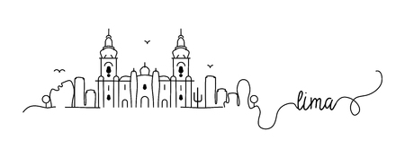 Lima City Skyline Doodle Sign
