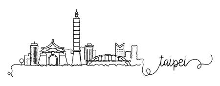 Taipei City Skyline Doodle Sign