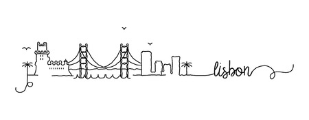 Lisbon City Skyline Doodle Sign Illustration