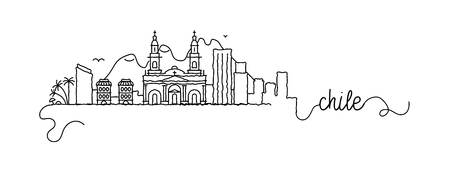 Chile City Skyline Doodle Sign