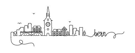 Bern City Skyline Doodle Sign