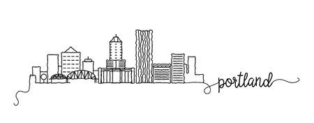 Portland City Skyline Doodle Sign Illustration