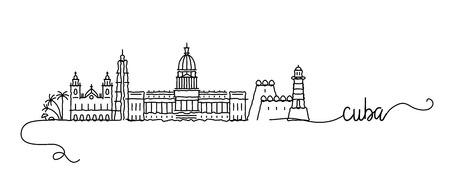Cuba City Skyline Doodle Sign